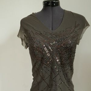 Olive green sequin Bebe top